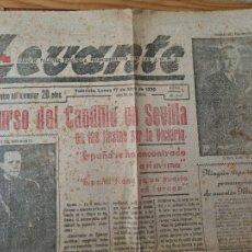 Militaria: PERIODICO GUERRA CIVIL DIARIO LEVANTE 17 ABRIL 1939 1 HOJA AÑO 1 Nº 2 ORIGINAL. Lote 273490223