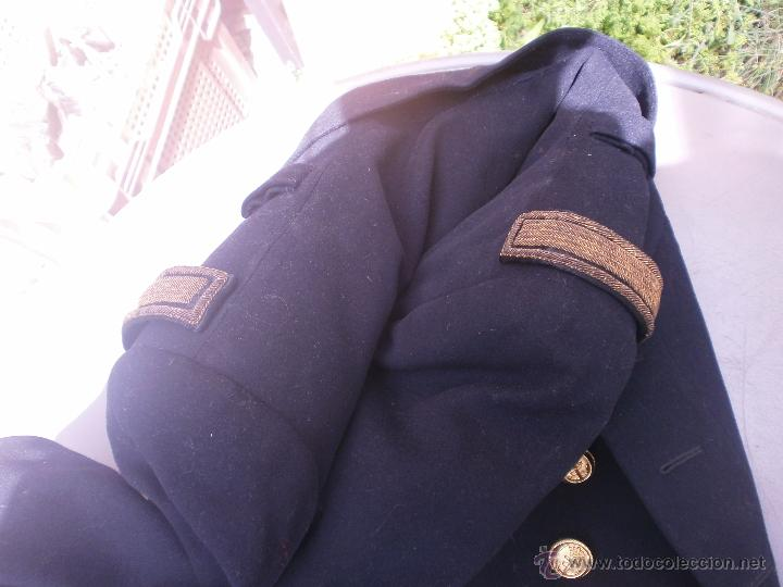 Militaria: Abrigo de Coronel con galones y estrellas ejercito español Marina buen estado aprox. talla 42 - Foto 3 - 49605242