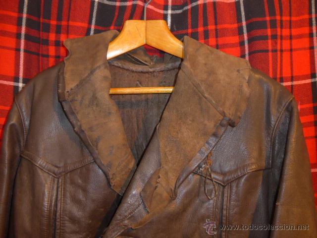 Militaria: Antiguo chaqueta de cuero militar, original guerra civil, zona de Teruel. - Foto 3 - 54445120