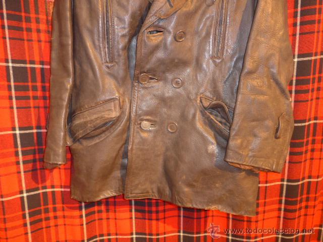 Militaria: Antiguo chaqueta de cuero militar, original guerra civil, zona de Teruel. - Foto 4 - 54445120
