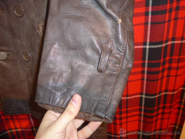 Militaria: Antiguo chaqueta de cuero militar, original guerra civil, zona de Teruel. - Foto 5 - 54445120