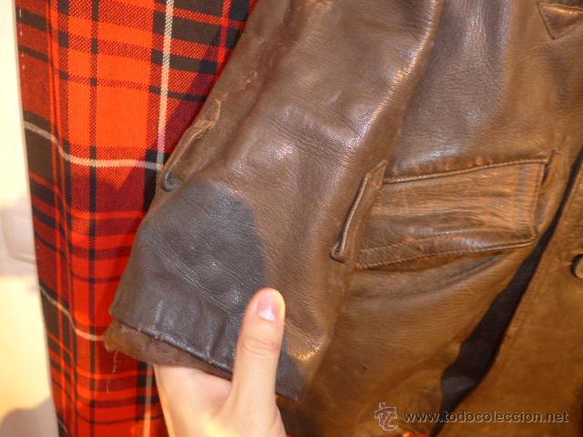Militaria: Antiguo chaqueta de cuero militar, original guerra civil, zona de Teruel. - Foto 6 - 54445120