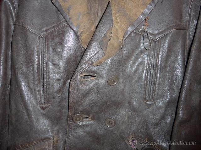 Militaria: Antiguo chaqueta de cuero militar, original guerra civil, zona de Teruel. - Foto 7 - 54445120