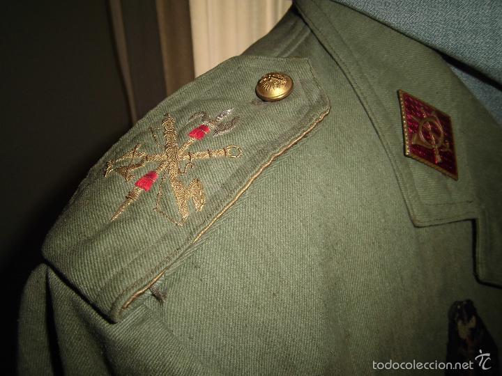 Militaria: ANTIGUA GUERRERA EN SARGA DE CAPITÁN DE LA LEGIÓN CON PASADOR DE DIARIO. - Foto 2 - 57706792