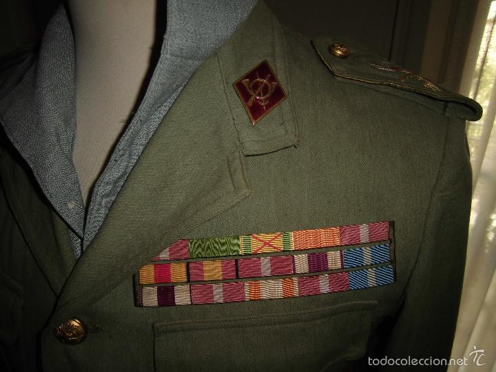 Militaria: ANTIGUA GUERRERA EN SARGA DE CAPITÁN DE LA LEGIÓN CON PASADOR DE DIARIO. - Foto 3 - 57706792