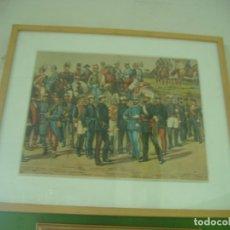 Militaria: CUADRO UNIFORMES DEL EJERCITO ESPAÑOL A COMIENZOS DEL SIGLO XX. Lote 33205144