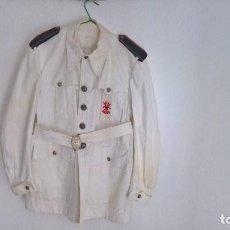 Militaria: FALANGE..GUERRERA BLANCA CON CINTO HEBILLA ... Lote 124513155