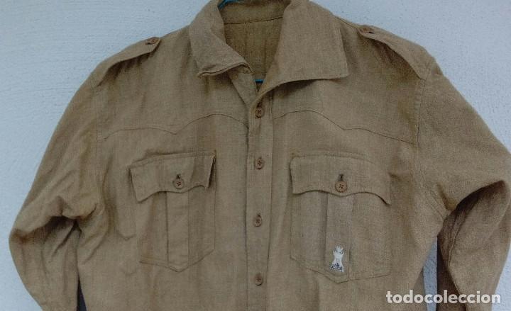 Militaria: Camisa Sáhara Ingenieros, militar española color arena,botones madera,bordado ingenieros,MUY RARA - Foto 2 - 160573558
