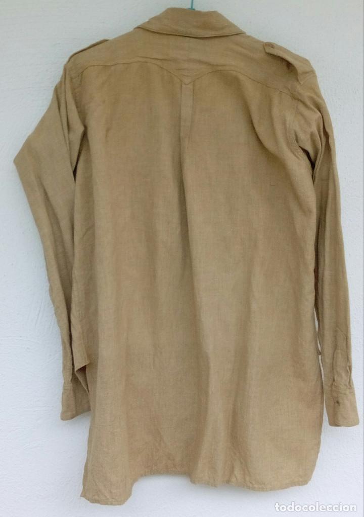 Militaria: Camisa Sáhara Ingenieros, militar española color arena,botones madera,bordado ingenieros,MUY RARA - Foto 4 - 160573558