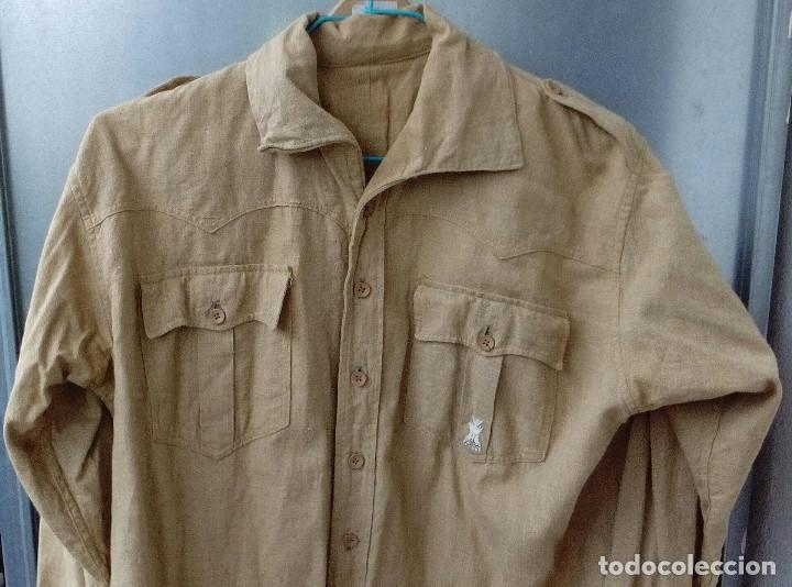 Militaria: Camisa Sáhara Ingenieros, militar española color arena,botones madera,bordado ingenieros,MUY RARA - Foto 6 - 160573558