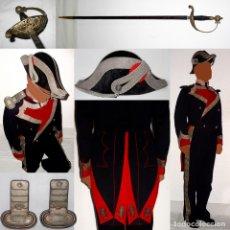 Militaria: UNIFORME REAL MAESTRANZA CABALLERÍA VALENCIA-BICORNIO-PALAS-ESPADA-PAÑO-SEDA-HILO PLATA. PPIO 1900. Lote 181621281