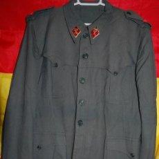 Militaria: SAHARIANA GUARDIA CIVIL REGLAMENTO 1943. PANTALON CARTUCHERA DORSAL Y CINTURON (TODO ORIGINAL). Lote 184892788