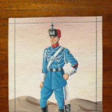 Militaria: CABO DE CAZADORES DE VICTORIA EUGENIA - ORIGINAL ARTÍSTICO - 8,5 CM X 11,3 CM. Lote 188720198