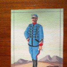 Militaria: OFICIAL DE CAZADORES DE TREVIÑO - ORIGINAL ARTÍSTICO - 8,5 CM X 11,3 CM. Lote 188720441
