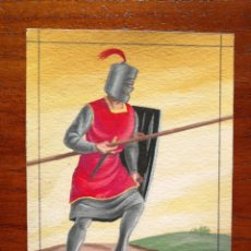 Militaria: LANCERO LORICATO DE MESNADA SEÑORIAL SIGLO XIII - ORIGINAL ARTÍSTICO - 8,5 CM X 11,3 CM. Lote 188720767