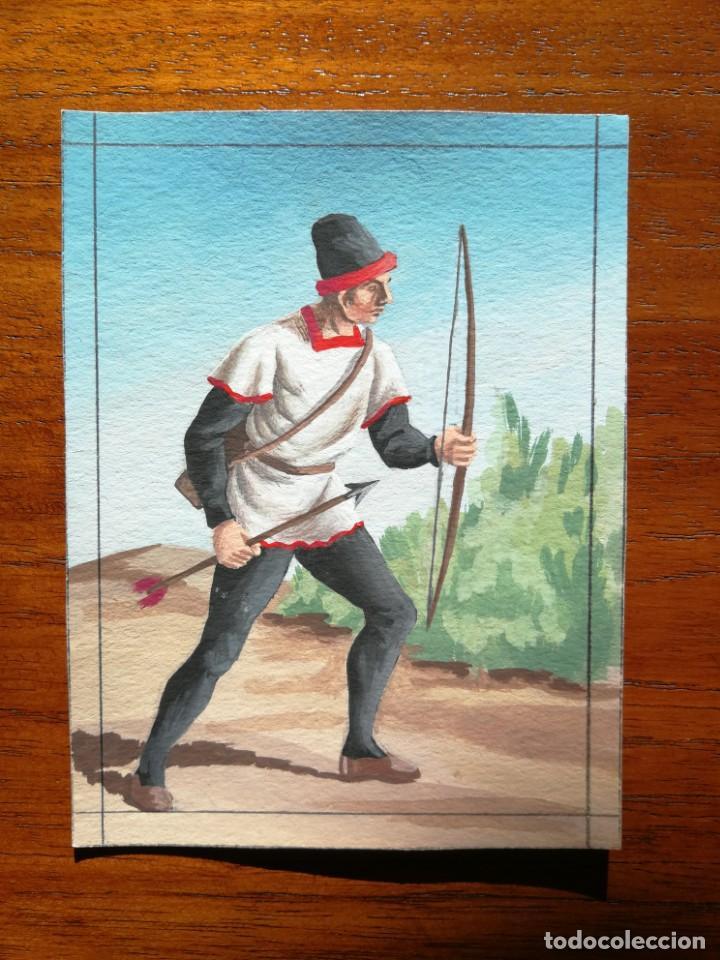 SAGITARIO ( BALLESTERO ) DE VIZCAYA SIGLO XIV - ORIGINAL ARTÍSTICO - 8,5 CM X 11,3 CM (Militar - Uniformes Españoles )