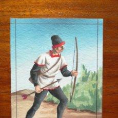 Militaria: SAGITARIO ( BALLESTERO ) DE VIZCAYA SIGLO XIV - ORIGINAL ARTÍSTICO - 8,5 CM X 11,3 CM. Lote 188721283