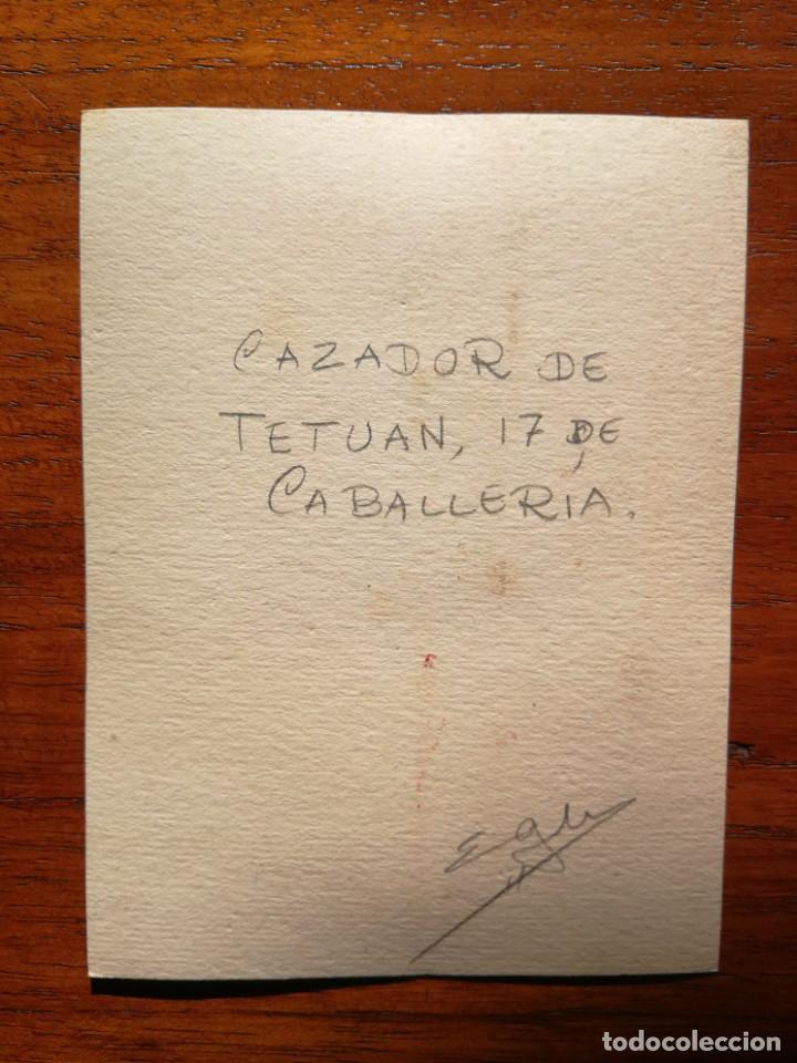 Militaria: Cazador de Tetuán , 17 de Caballería - Original Artístico - 8,5 cm x 11,3 cm - Foto 2 - 188721376