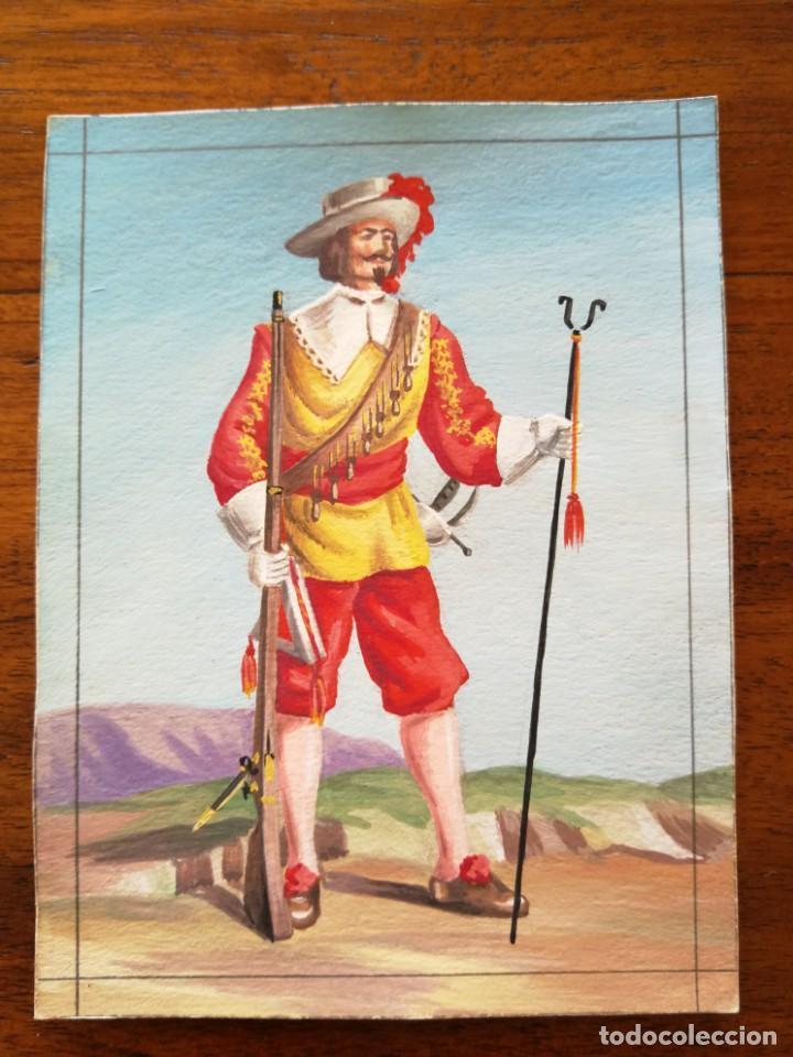 MOSQUETERO DEL TERCIO DE SABOYA SIGLO XVII - ORIGINAL ARTÍSTICO - 8,5 CM X 11,3 CM (Militar - Uniformes Españoles )