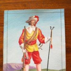 Militaria: MOSQUETERO DEL TERCIO DE SABOYA SIGLO XVII - ORIGINAL ARTÍSTICO - 8,5 CM X 11,3 CM. Lote 188722537