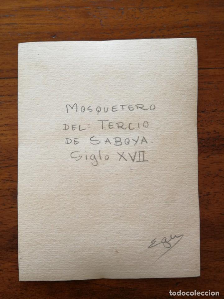 Militaria: Mosquetero del Tercio de Saboya Siglo XVII - Original Artístico - 8,5 cm x 11,3 cm - Foto 2 - 188722537