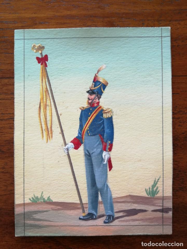 LEONÍFERO (SEGÚN REAL DECRETO DEL 2/11/1821 ) - ORIGINAL ARTÍSTICO - 8,5 CM X 11,3 CM (Militar - Uniformes Españoles )