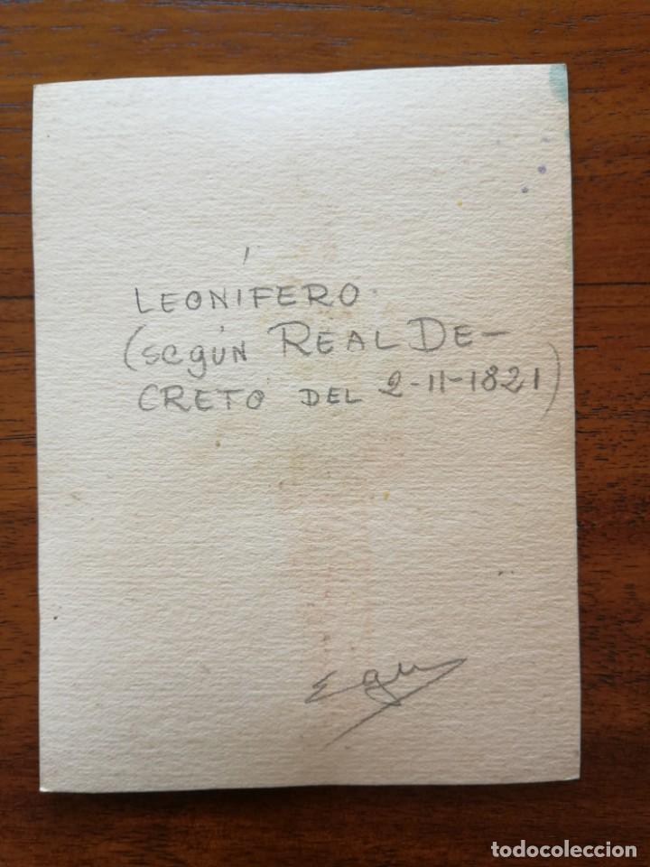 Militaria: Leonífero (según Real Decreto del 2/11/1821 ) - Original Artístico - 8,5 cm x 11,3 cm - Foto 2 - 188722798