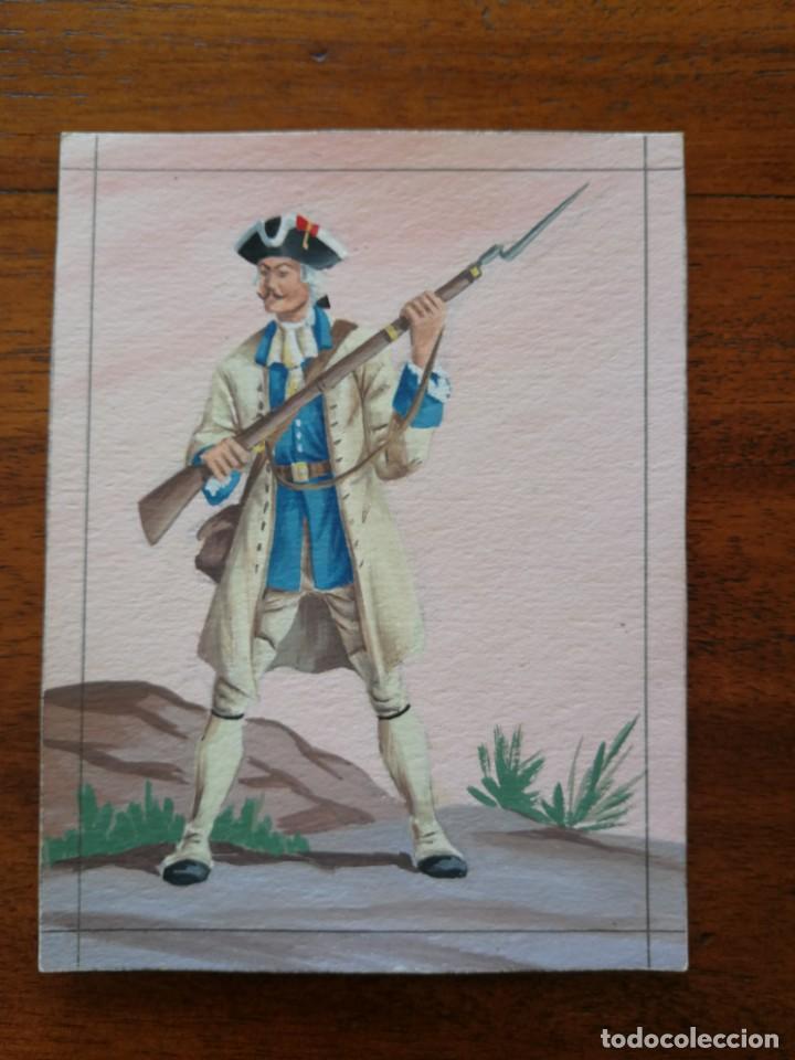 FUSILERO DEL REGIMIENTO DE SABOYA ( 1760 ) - ORIGINAL ARTÍSTICO - 8,5 CM X 11,3 CM (Militar - Uniformes Españoles )