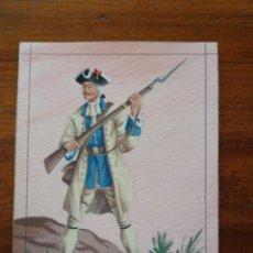 Militaria: FUSILERO DEL REGIMIENTO DE SABOYA ( 1760 ) - ORIGINAL ARTÍSTICO - 8,5 CM X 11,3 CM. Lote 188723068