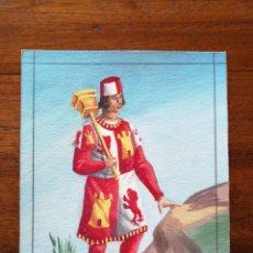 Militaria: HERALDO DE CASTILLA SIGLO XIII - ORIGINAL ARTÍSTICO - 8,5 CM X 11,3 CM. Lote 188723180