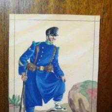 Militaria: SARGENTO DE CAZADORES - COMIENZOS DEL SIGLO XX - ORIGINAL ARTÍSTICO - 8,5 CM X 11,3 CM. Lote 189896145
