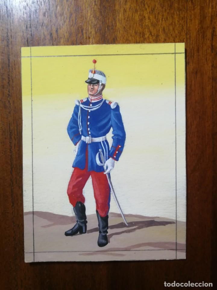 CADETE DEL AÑO 1870 - ORIGINAL ARTÍSTICO - 8,5 CM X 11,3 CM (Militar - Uniformes Españoles )