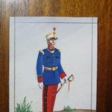 Militaria: CAPITÁN DEL REGIMIENTO DE INFANTERÍA DE LÍNEA, ASTURIAS NÚM 13 - ORIGINAL ARTÍSTICO 8,5 CM X 11,3 CM. Lote 189896645