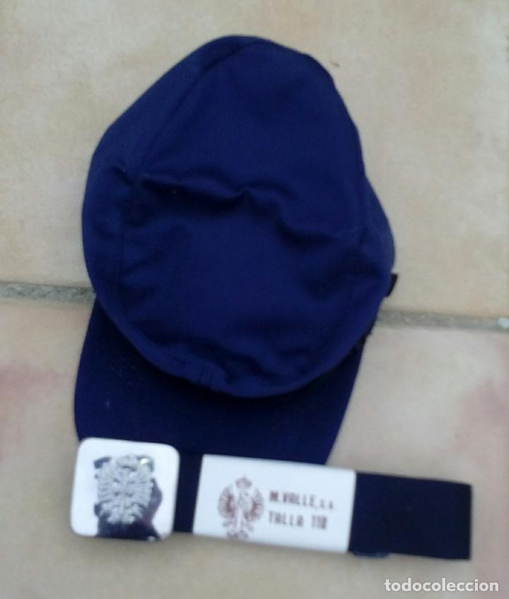 Militaria: Gorra de faena (talla 57) y cinto (110cms) azul mahón: cartistas, ferroviarios. - Foto 2 - 262049450