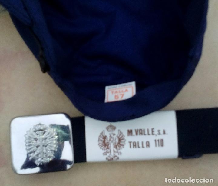 Militaria: Gorra de faena (talla 57) y cinto (110cms) azul mahón: cartistas, ferroviarios. - Foto 3 - 262049450