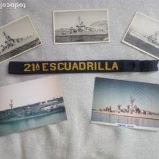 Militaria: LOTE 21 ESCUADRILLA DE ESCOLTAS.CINTA DE LEPANTO Y SEIS FOTOGRAFÍAS.. Lote 194690500