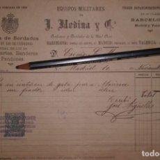 Militaria: FACTURA CASA MEDINA, BORDADOR DE CASA REAL, POR COMPRA EFECTOS DE MARINA, AÑO 1.899. Lote 198754507