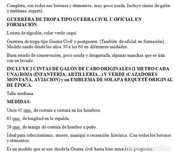 Militaria: GUERRERA.CAMISOLA TROPA R1943,TIPO GUERRA CIVIL Y POSTGUERRA,COMPLETA BUEN ESTADO,TALLA M - Foto 7 - 260379585
