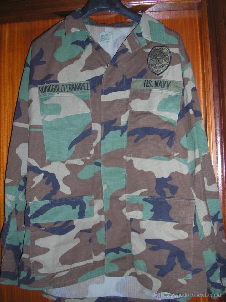 US NAVY. CHAQUETA UNIFORME WOODLAND. POLICIA NAVAL Y SEGURIDAD . BASE NAVAL DIEGO GARCIA (Militar - Uniformes Extranjeros )