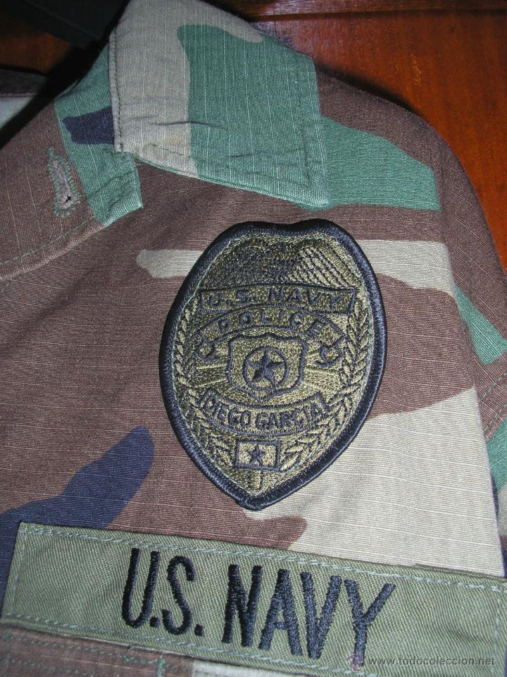 Militaria: us navy. CHAQUETA UNIFORME WOODLAND. POLICIA NAVAL Y SEGURIDAD . BASE NAVAL DIEGO GARCIA - Foto 2 - 42318973