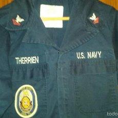 Militaria: USN. US NAVY. MONO DE UNIFORME. USS ROSS. ESCUDO ANTIMISILES DE ROTA. Lote 56376046