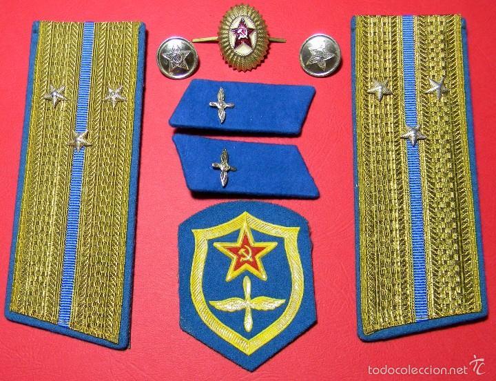 URSS - CCCP - LOTE DISTINTIVOS UNIFORME - TENIENTE MAYOR - FUERZAS AEREAS - GUERRA FRIA - ORIGINAL (Militar - Uniformes Extranjeros )