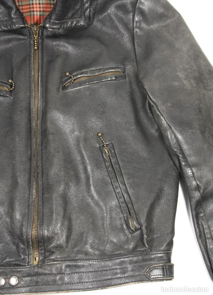 Militaria: Cazadora de cuero marrón, tipo piloto Luftwaffe, original Segunda Guerra Mundial - Foto 4 - 107453407