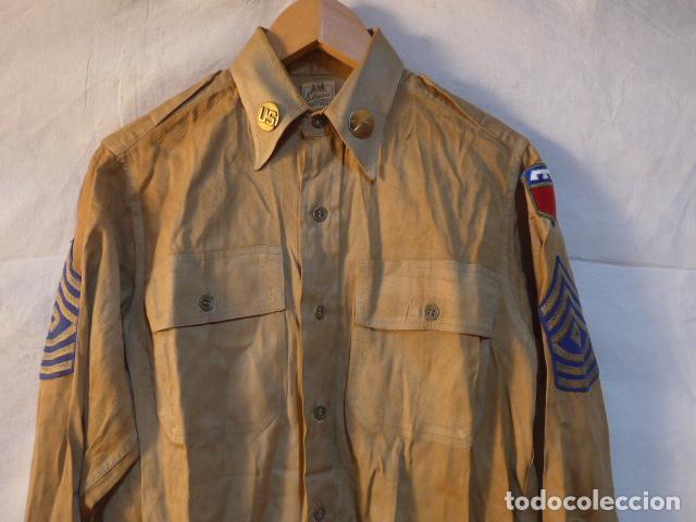 Militaria: Antigua camisa americana de oficial, original, con sus parches. Estados Unidos. II guerra o vietnam? - Foto 2 - 160731762