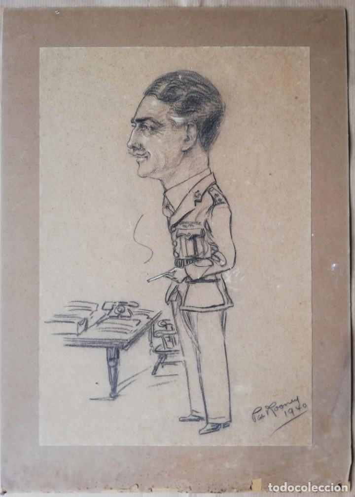 DIBUJO ORIGINAL A LÁPIZ, FIRMADO CARICATURA DE UN MILITAR - 1940 - EJERCITO BRITÁNICO (Militar - Uniformes Extranjeros )