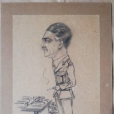 Militaria: DIBUJO ORIGINAL A LÁPIZ, FIRMADO CARICATURA DE UN MILITAR - 1940 - EJERCITO BRITÁNICO. Lote 184092235