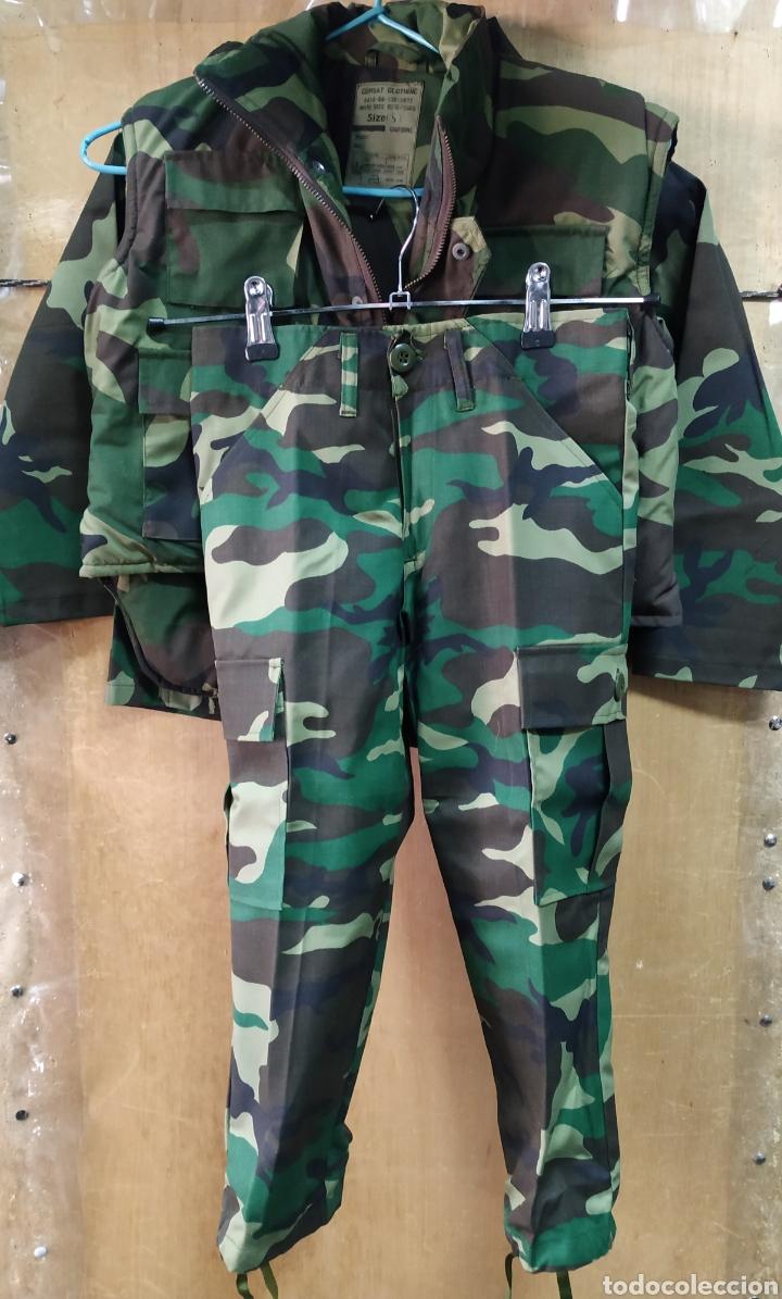 Militaria: UNIFORME Y CHALECO NIÑO CAMUFLAJE BOSCOSO ORIGINAL U.S.A T4-6 NUEVO - Foto 3 - 195284241