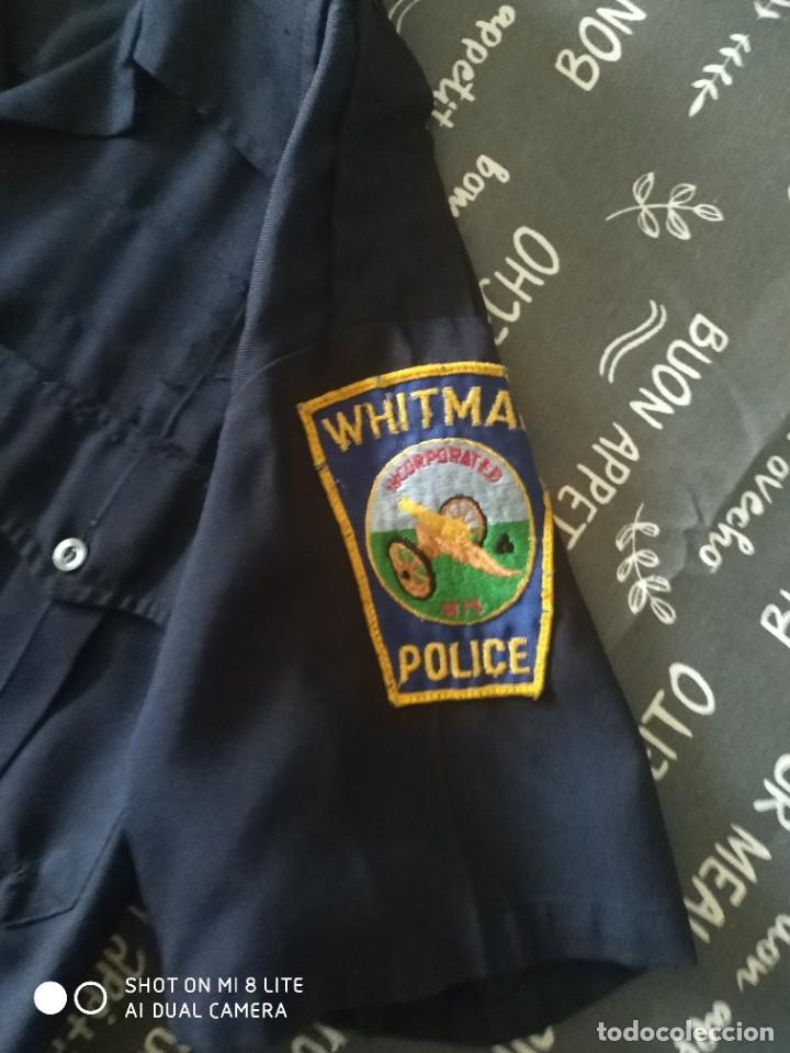 Militaria: ORIGINAL Y ANTIGUA CAMISA POLICIA EEUU ESTADOS UNIDOS CON DOS PARCHES EMBLEMAS MOTORISTA AMERICANO - Foto 2 - 274640643