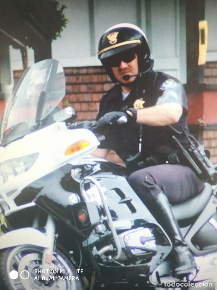 Militaria: ORIGINAL Y ANTIGUA CAMISA POLICIA EEUU ESTADOS UNIDOS CON DOS PARCHES EMBLEMAS MOTORISTA AMERICANO - Foto 3 - 274640643