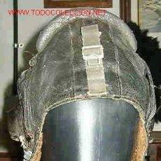 Militaria: GORRO DE CUERO DE PILOTO RUSO FORRADO DE PIEL. Lote 20191597